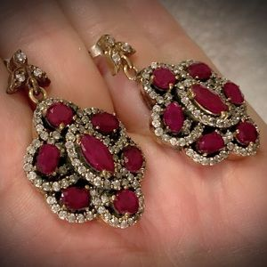 RUBY GEMS EARRINGS Solid 925 Sterling Silver/Gold